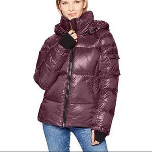 S13 Kylie Down Puffer Jacket Coat Maroon Purple XL